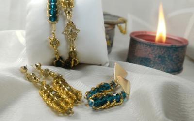 Hermosos aretes de murano con oro golfi y zircón