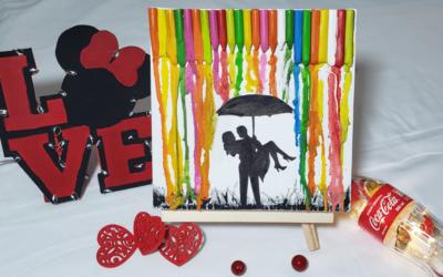 Pasos para crear arte con siluetas y crayolas derretidas